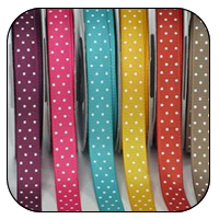 3/8 Inch x 25 Yards Polka Dot Grosgrain (20 colors avail)